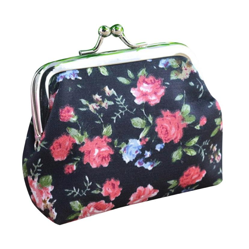 Fashion Women Coin Purse Lady Vintage Flower Small Wallet Girl Ladies Handbag Mini Clutch Womens Purse Female Pouch Money Bag