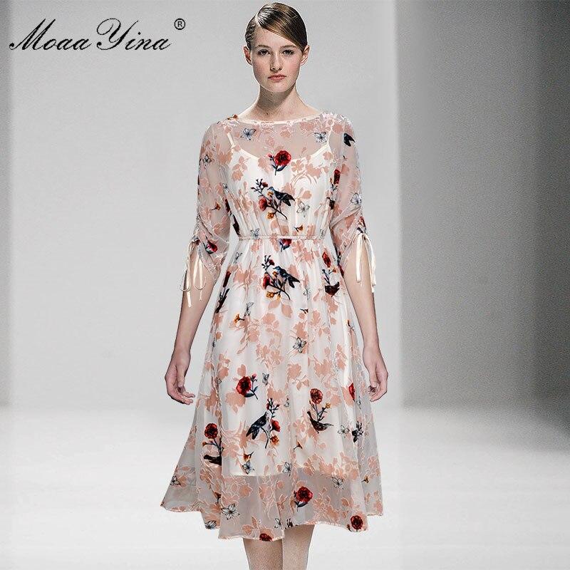 MoaaYina Samt Floral Etwas vogel Casual Urlaub Elegante Kleider Mode Designer Runway Kleid Frühling Sommer Frauen kleid-in Kleider aus Damenbekleidung bei  Gruppe 3