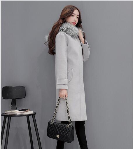 Donne di alta qualità cappotto con collo di pelliccia con cappuccio inverno  cappotto femminile cachemire misto lana giacca slim cappotto di lana  cappotti ... 176a43e2881