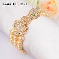Moda Biżuteria wielowarstwowy Piękne Pearl Shell Kobiety Dragon Szef Charm Zroszony Chain & Link Bransoletki Oblewania Bransoletki Dla Kobiet
