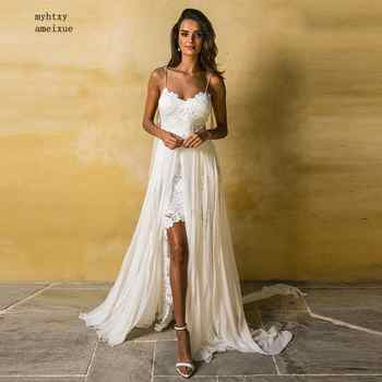 Boho Cheap Wedding Dress Spaghetti Strap A Line Lace Sexy Backless Beach Wedding Gown White Ivory Bride Dress Free Shipping 2019