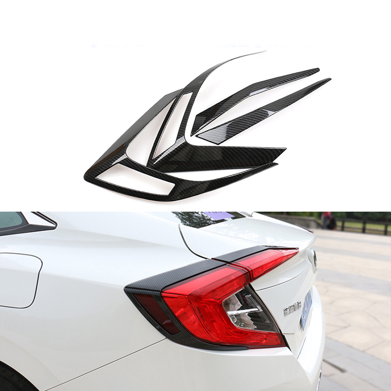 Free shipping ABS Carbon fiber Style tail lamp Cover Car Accessories For Honda Civic 2016 2017 10Gen Sedan FC1 FC2 carbon fiber car leather car central armrest console cover for honda civic 10th 2016 2017 2018 accessories