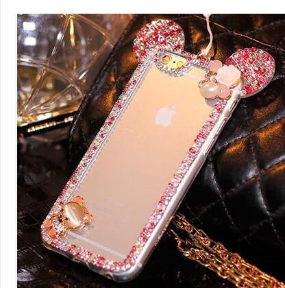 For Xiaomi Redmi 4A 4X Pro Note4 Note 4X Cases 3D Mickey Mouse Case Rhinestone Ear Hello Kitty Soft Protect Cover Phone Chain