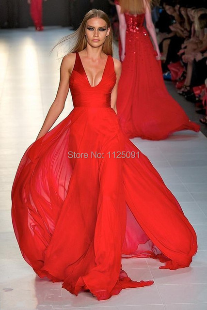 2017 Quickly Delivery Sexy Deep V Neck Pleat Floor Length Long Red Chiffon Celebrity Dresses Custom Made High Quality