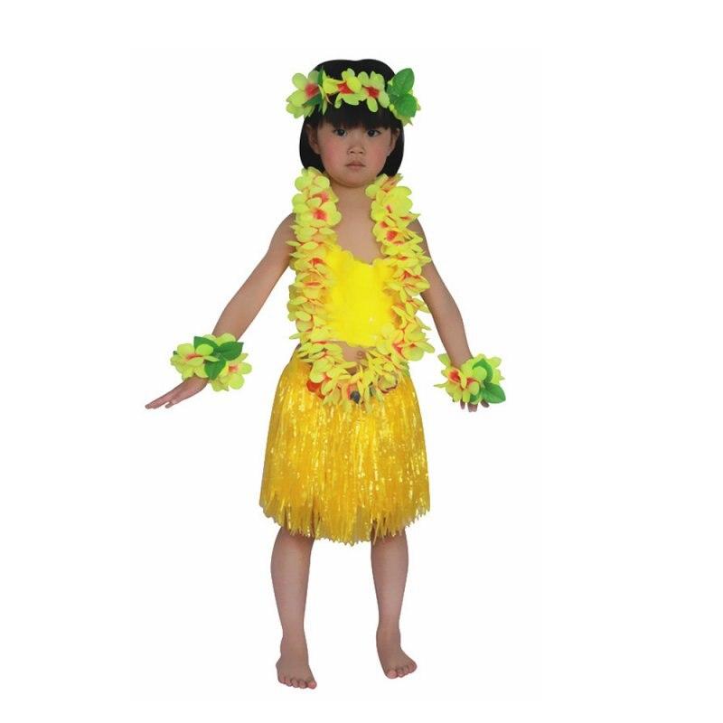 Lovely Child Kids 6 PCS Hawaiian Grass Skirt Flower Hula Garland Dance Dress Set