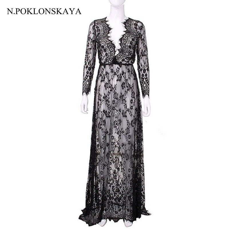 summer women lace long dress maxi sexy V Neck Perspective Floral Tunic plus size dresses black women clothing vestidos xxxl