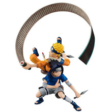 Anime Naruto Uzumaki and Sasuke Uchiha Action Figure Flying with a scroll NARUTO Shippuuden PVC Figure Model Kids Toys gift