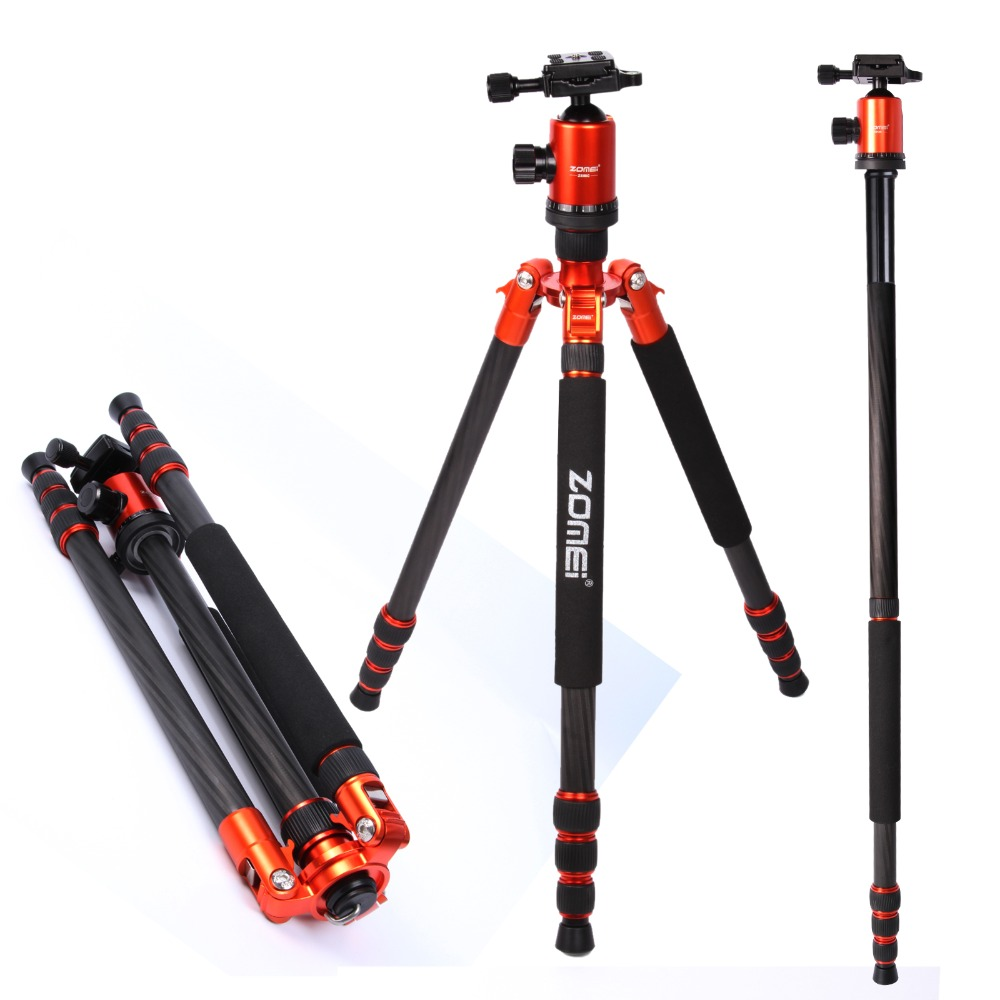 Flagship ZOMEI tripod Orange Z818C Professional Travel Carbon Fiber camera tripod Monopod Ball head with case