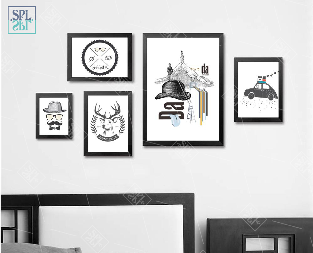 a8b29d65eab Abstract Black and White Canvas Painting Retro Personality Decorative  Poster and Print Wall Art Picture for Living Room No Frame