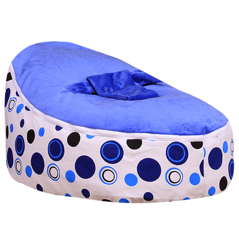 Levmoon Medium Blue Circle Print Bean Bag Chair Kids Bed For Sleeping Portable Folding Child Seat Sofa Zac Without The Filler