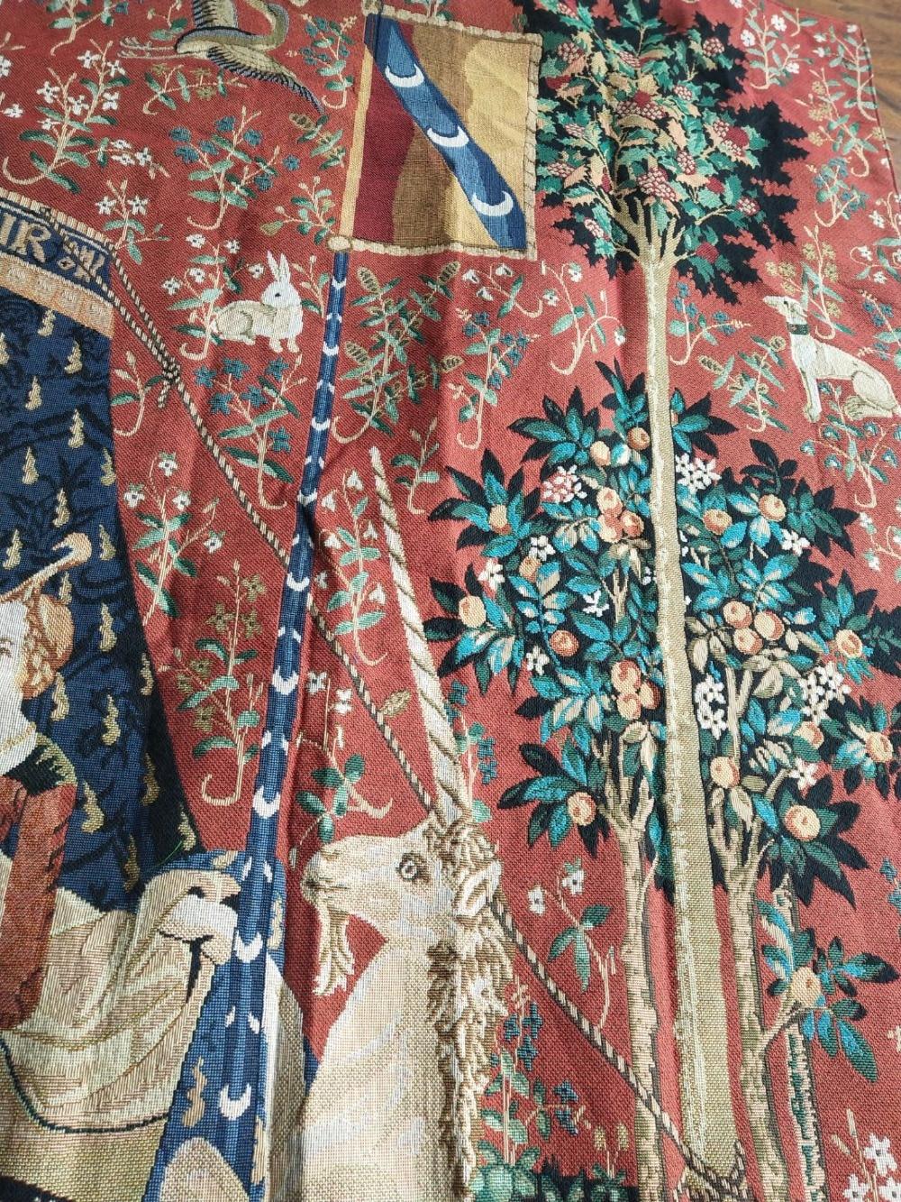 Serie de unicornio noblellady vestido de mujer tamaño grande 165*139cm tela decorativa de jaauard tapiz de pared medieval PT 76 - 6