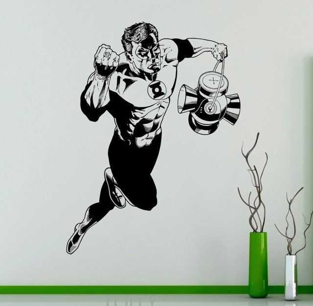 Green lantern superhero wall vinyl sticker comics cool decal home interior bedroom decor kids room removable
