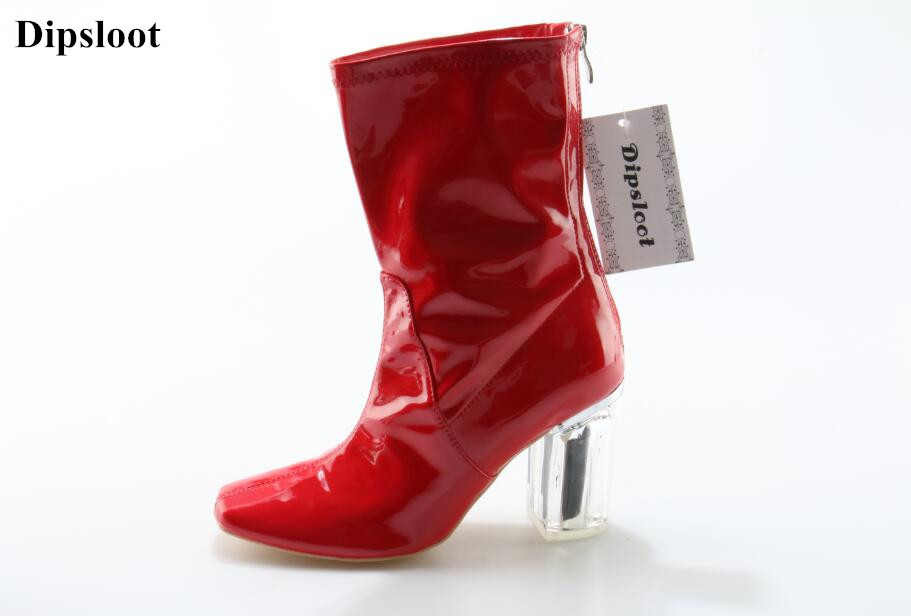 Woman Shinning Patent Leather Ankle Boots Fashion Square Toe Shoes Woman Chunky Heels Dress Party Shoes Woman Zipper Short Boots