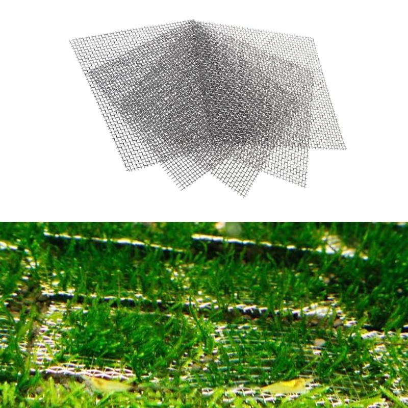 8x8cm Aquarium Stainless Steel Wire Mesh Pad Plants Fish Tank Moss Net Decor Aquarium Background