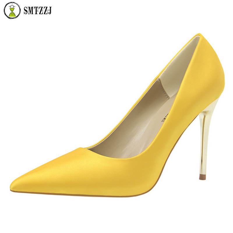 Woman Pumps Wedding-Shoes Office Silk High-Heels Women's Luxury New Glitter Shallow Zapatos-Mujer