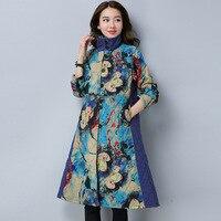 Ilstile 2017 Vintage Women S Turtleneck Floral Print Coats Cotton Casual Long Jacket Autumn Winter New