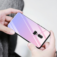 Aurora Gradient Tempered Glass Cases For Oneplus 6 Case 6 28 Luxury Color Anti Shock Case
