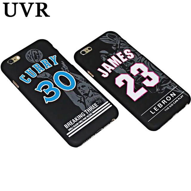 UVR NBA Star Basketball Noctilucent Cameo Case for iPhone 5S 6 6S Plus Lebron James 23 Curry 30 Hard Back Cover Coque Capa Funda