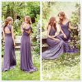 Elegant Long Lavender Chiffon Country Bridesmaid Dresses 2017 V-neck Maid of Honor Dress Wedding Guest Gowns BD211