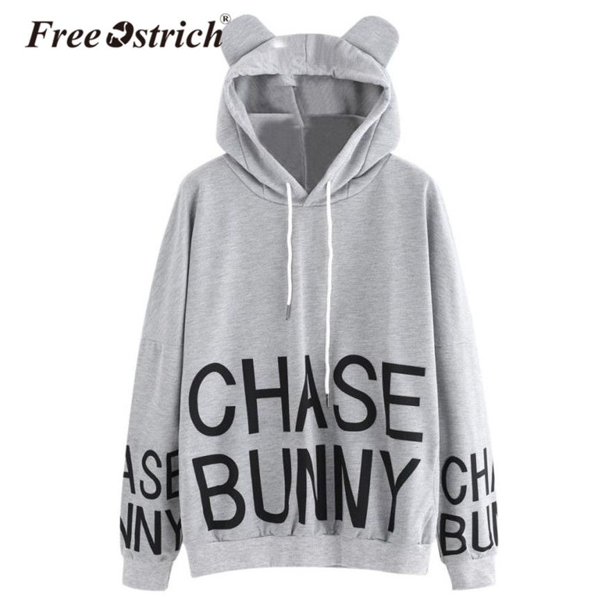 Free Ostrich Hoodies Sweatshirt Women Long Sleeve Letter Print Cat Hoodie Jacket Jumper Women Clothing sudadera Mujer Hooded No8