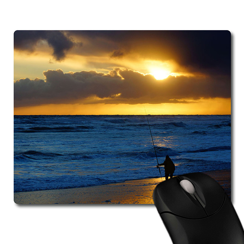 Fishing man on Sunset beach side printed Heavy weaving anti-slip rubber pad office mouse pad Coaster Party favor & gifts