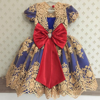 Lovely Gold Appliques Royal Blue Princess Flower Girl Dress 2017 With Big Bow Girls Communion Dresses