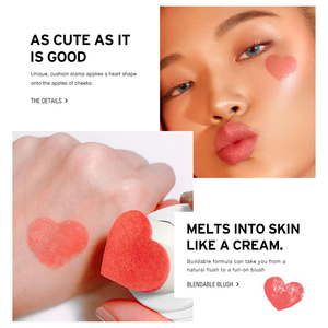 Image 4 - O.TWO.O Air Cushion Blusher Folding Heart Shape Shimmer Blush Rouge 4 Colors Easy To Wear Natural Face Contour Make Up