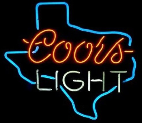 Custom Coors Light Texas Glass Neon Light Sign Beer BarCustom Coors Light Texas Glass Neon Light Sign Beer Bar