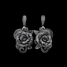 HENSEN New Fashion Antique Jewelry Earring Silver Plated Black Rhinestone Flower Shape Vintage Dangle Earrings For Women