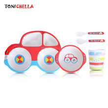 Bamboo Fiber Children Tableware Set Baby Feeding Plate Dinnerware Dishes Bowl With Spoon Fork Car Shape Food Container CL5322