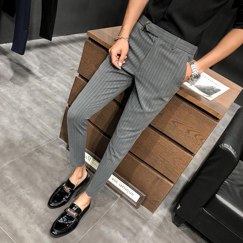 28-36 Men Dress Pants Slim Fit Streetwear Striped Workout Ankle Pants Male Fashion Summer Office Trousers Men Skinny Suit Pant