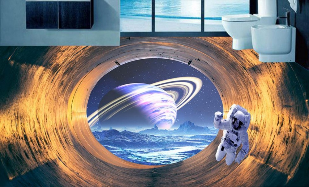 Custom 3d Murals Wallpaper floor space tunnel Floor Self-adhesive Waterproof Wallpaper PVC 3D Floor Desktop Backgrounds