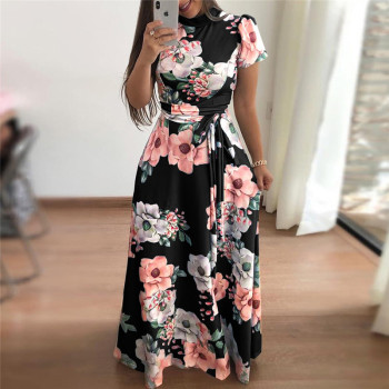 Women Summer Dress 2019 Casual Short Sleeve Long Dress Boho Floral Print Maxi Dress Turtleneck Bandage Elegant Dresses Vestido