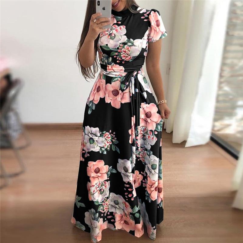 Women Summer Dress 2019 Casual Short Sleeve Long Dress Boho Floral Print Maxi Dress Turtleneck Bandage Elegant Dresses Vestido Платье