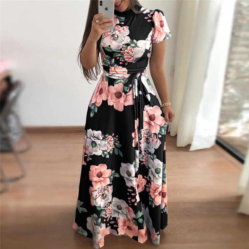52840bf0e9 Kobiety lato sukienka 2019 na co dzień z krótkim rękawem długa sukienka  Boho kwiatowy Print sukienka