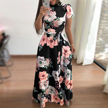 Women Summer Dress 2019 Casual Short Sleeve Long Dress Boho Floral Print Maxi Dress Turtleneck Bandage Elegant Dresses Vestido(China)