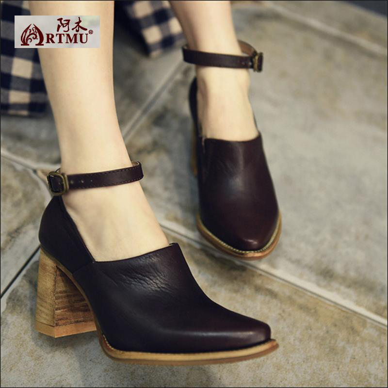2017 Spring fashion thick heels high heels genuine leather women shoes female pointed toe hasp deep mouth women pumps 29915-2 8cm 2015 spring and autumn single shoes cutout hasp pointed toe high heels ol thin female fashion sandals