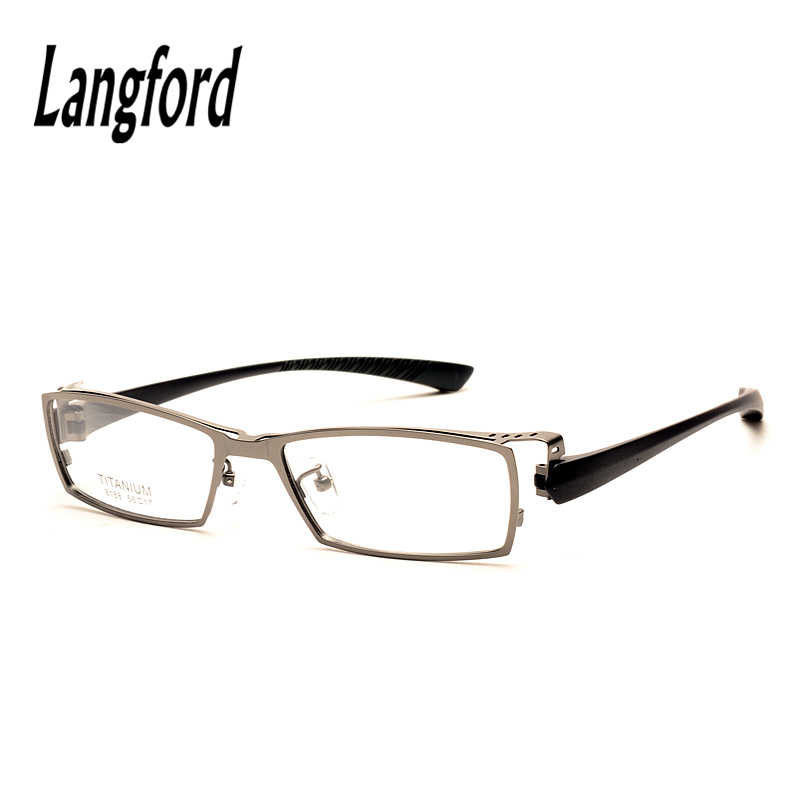 19f8b8a8696 langford brand Big face man pure titanium eyeglasses frame optical TR90  legs plain glasses spectacle full