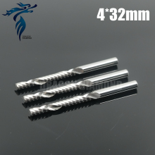 Sharp 10pcs 4*32mm One Sprial Flute Carbide End Mill, CNC Router Bits, Milling Cutter for Wood, Engraving, Machine Tools, MDF