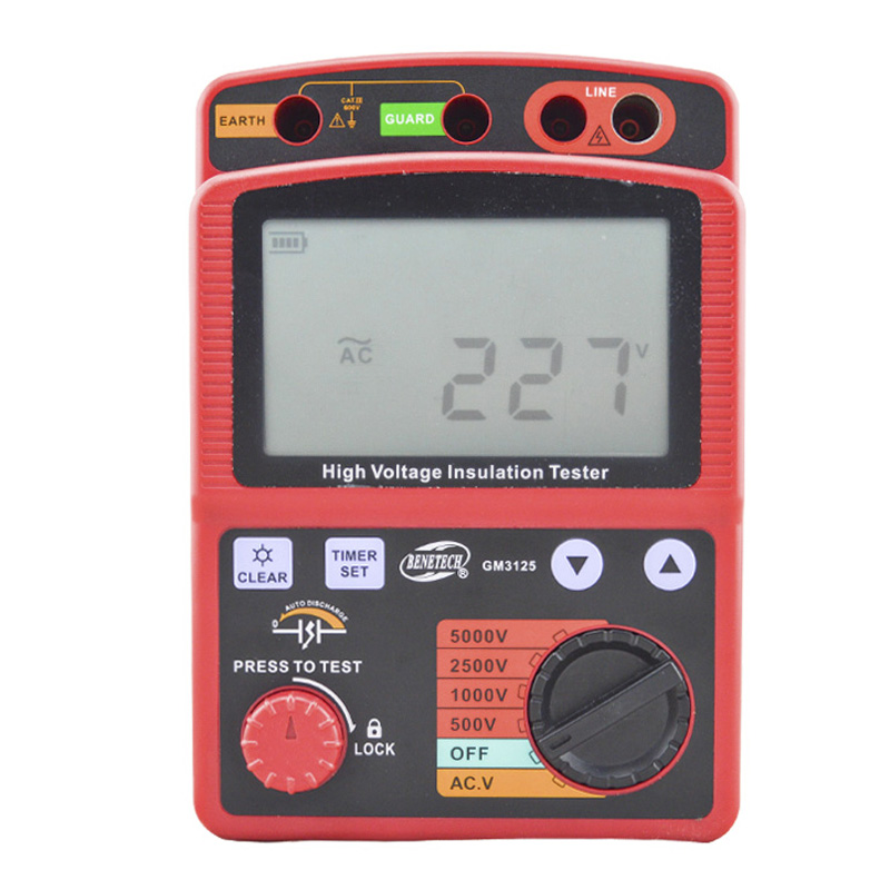 BENETECH GM3125 energy-saving Portable 12V 1.4mA voltage overload Insulation Resistance Tester benetech gm3125 energy saving portable 12v 1 4ma voltage overload insulation resistance tester