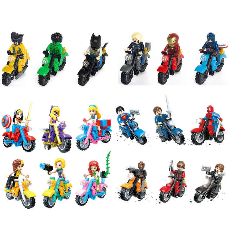 New Creative Super Hero Figure Avengers Girls Character With Motorcycle Building Block Bricks Toys