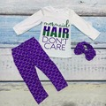 baby purple scales boutique pants mermaid hair don't care Fall/winter cotton gift print clothes girls clothing with bow set