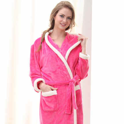 24a9e8a43e Flannel Hooded Couples Bathrobes Women s Robes Winter Dressing Gowns For  Women Men Female nightgowns Kimono Robe