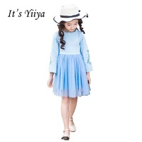 It S Yiiya Blue Long Sleeves Flower Girl Dresses Normal Party Girls Dress Princess Spring For