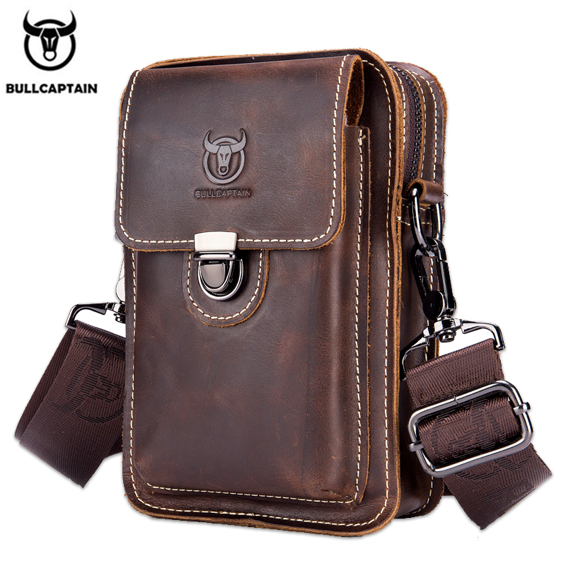 BULLCAPTAIN100% Crazy Horse Leather Male Waist Packs Phone Pouch Bags Waist Bag Men's Small Chest Shoulder Belt Bag Back Pack075