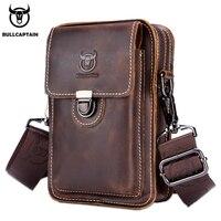 BULLCAPTAIN100% Crazy horse leather Male Waist Packs Phone Pouch Bags Waist Bag Men's Small chest Shoulder Belt Bag back pack075