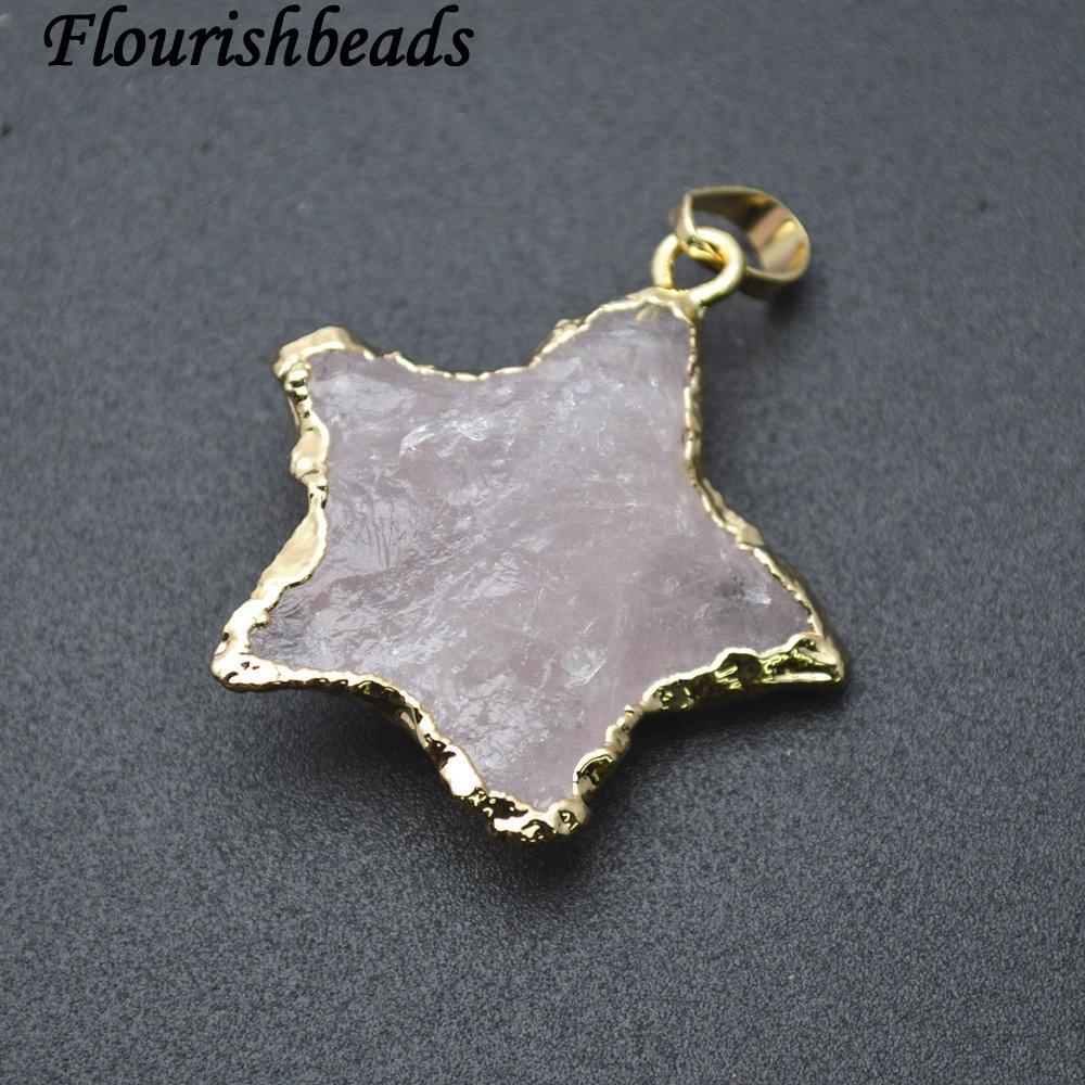 Natural Rose Quartz Stone Heart Shape Pendant Fit Fashion Jewelry
