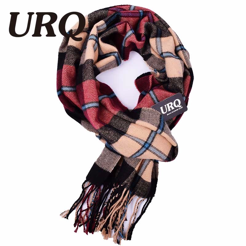 URQ Winter Soft Cashmere Scarves Plaid Check Warm Oblong Fringe Unisex Man Woman's
