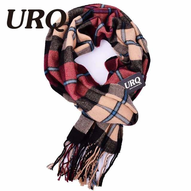 d5f7c7f1d71c7 URQ Winter Scarf New Soft Cashmere Scarves Plaid Check Warm Oblong Fringe  Unisex Man Woman's Scarf Pashimina A3A17527-in Men's Scarves from Apparel  ...