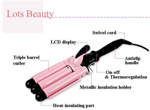Hair Waver Styler, Wholesale Free Shipping Hair Waver , Three Barrel Hair Waver With Ceramic Iron, Do not Harm to Hair do no harm